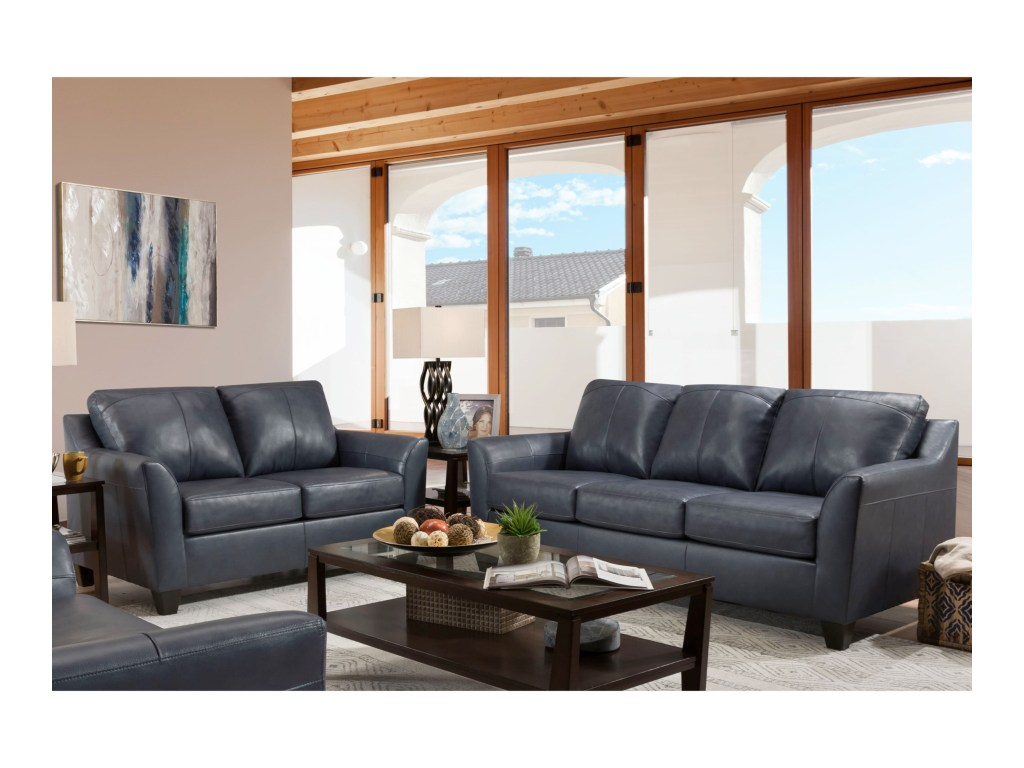 Lane 2029 Bark Contemporary Sofa And Loveseat With Flared Arms By United Furniture Industries
