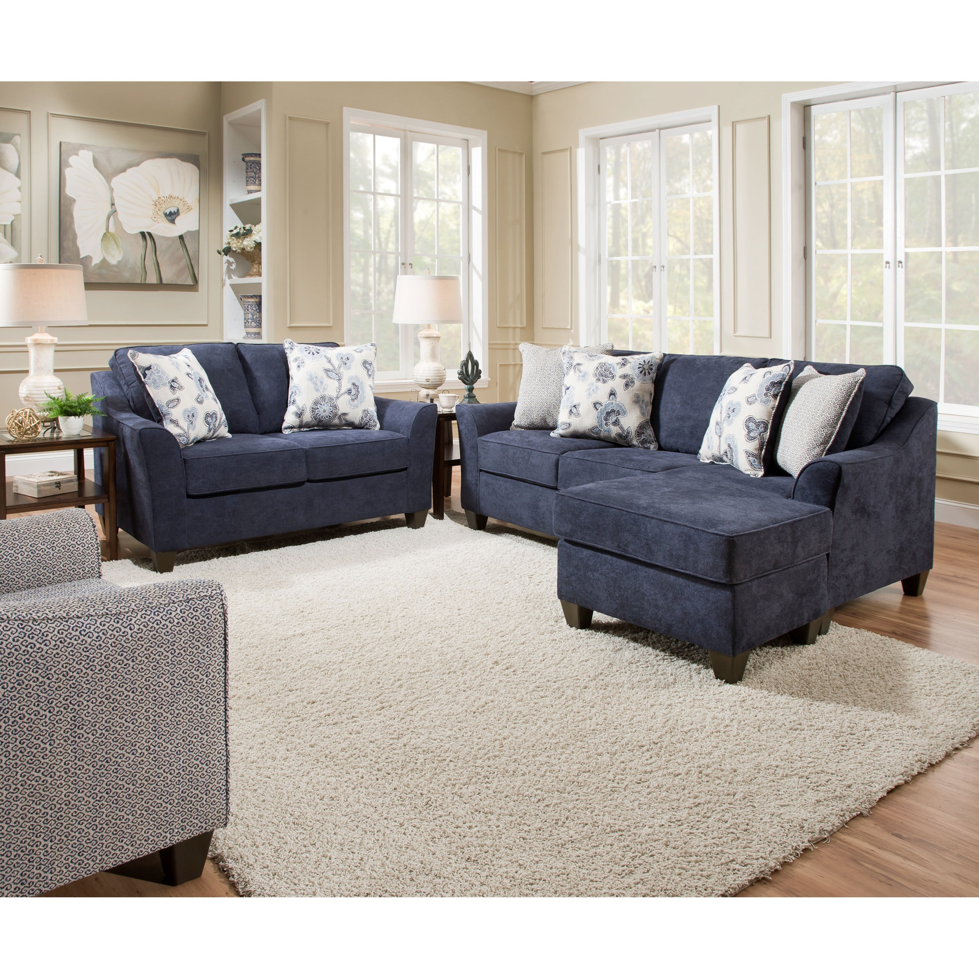 Lane Furniture 4330 Navy Loveseat And Sofa With Reversible