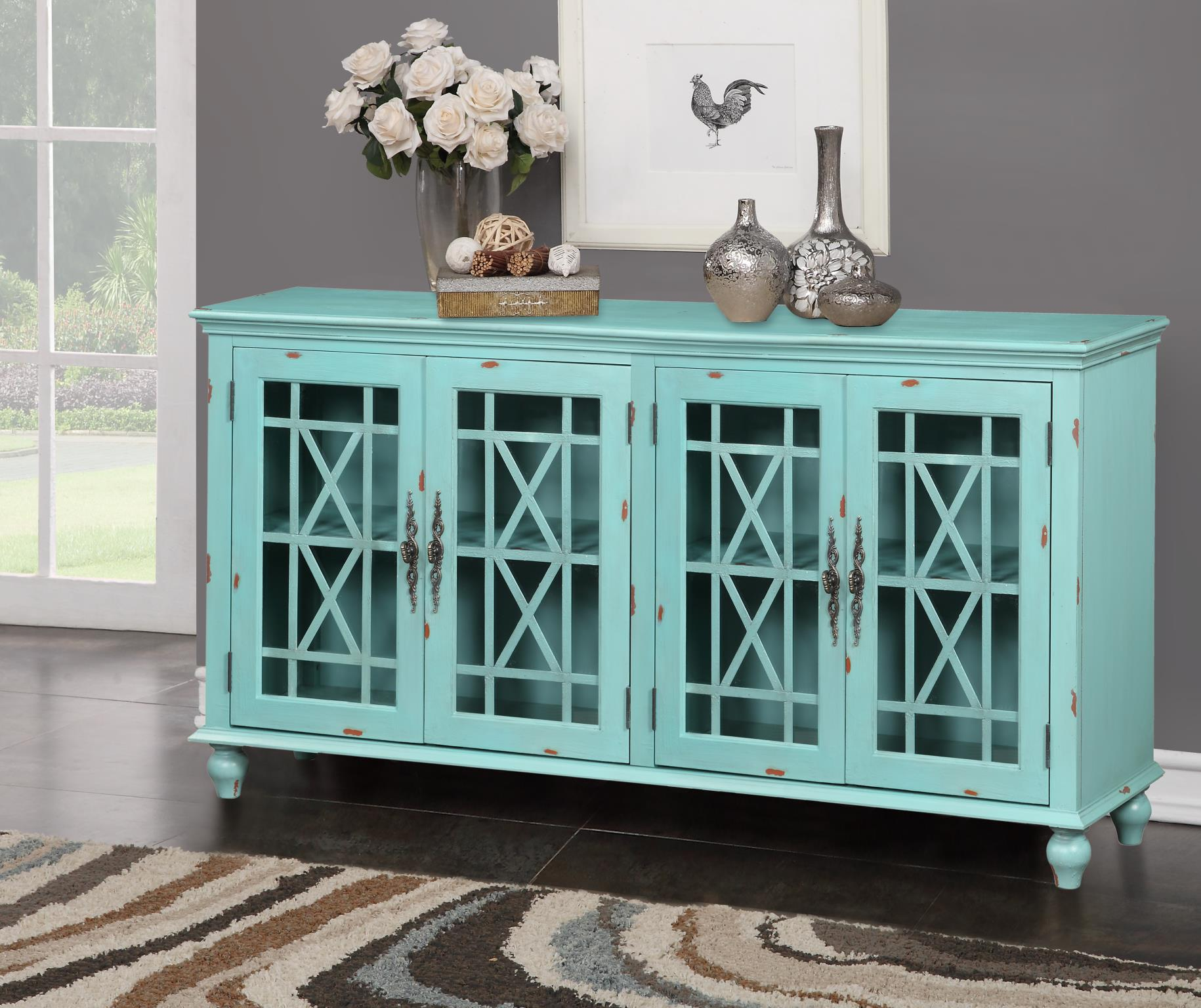 Kith 65 700 Turquoise Accent Cabinet Mattress And